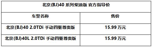 高性能柴油越野车 北京(BJ)40系列柴油版上市售15.99万元