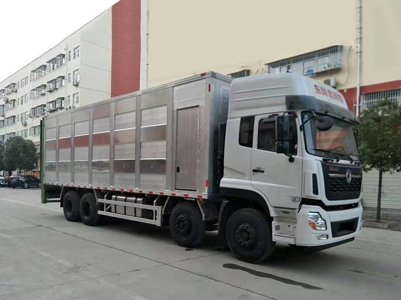 东风天龙9.6米铝合金运猪车_小型拉猪车多少钱