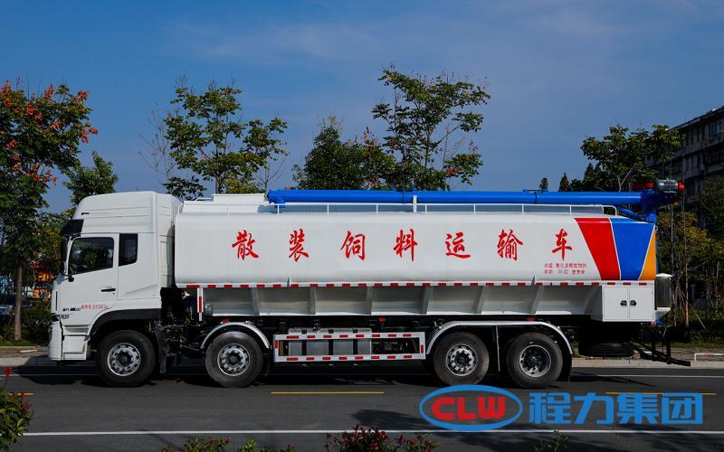 国六东风天龙前四后六散装饲料运输车-轻量化散装饲料车厂家报价